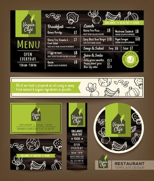 Gesunder restaurantkaffee des vegetariers und des strengen vegetariers eingestellt Premium Vektoren