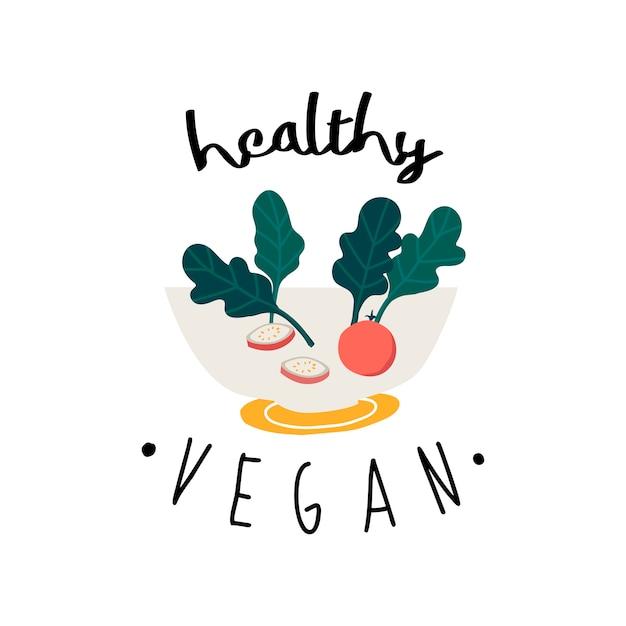 Gesunder salat des strengen vegetariers in einem schüsselvektor Kostenlosen Vektoren