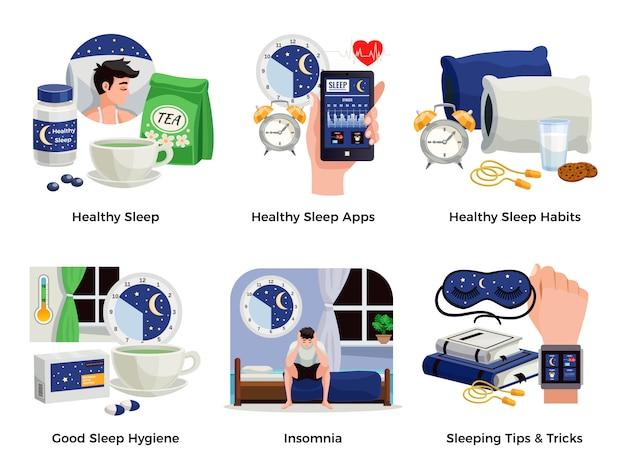 Gesunder schlaf und schlaflosigkeitszusammensetzungen stellten von gewohnheiten apps tipps tricks gute hygiene lokalisierten illustration ein Kostenlosen Vektoren