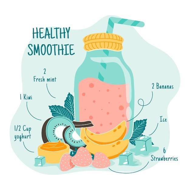 Gesunder smoothie in einem glas mit strohhalm Kostenlosen Vektoren