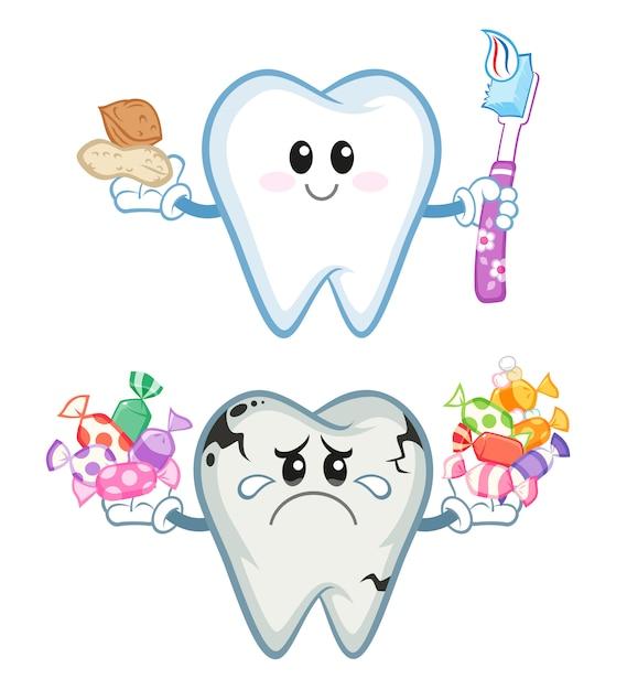 Gesunder und ungesunder zahn Premium Vektoren