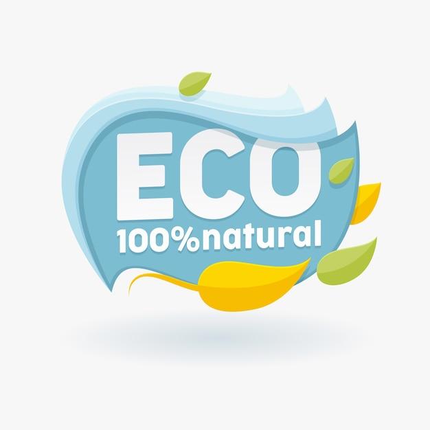 Gesundes bio-lebensmitteletikett mit bunten blättern Premium Vektoren