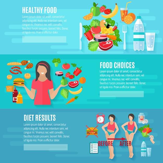 Gesundes essen banner gesetzt Premium Vektoren