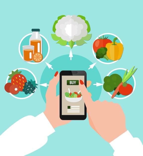 Gesundes essen farbiges konzept mit rundem symbolsatz kombiniert um smartphone in weiblichen händen Kostenlosen Vektoren