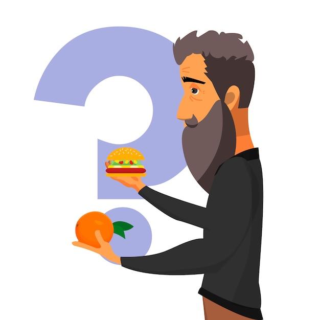 Gesundes essen oder junk food Premium Vektoren