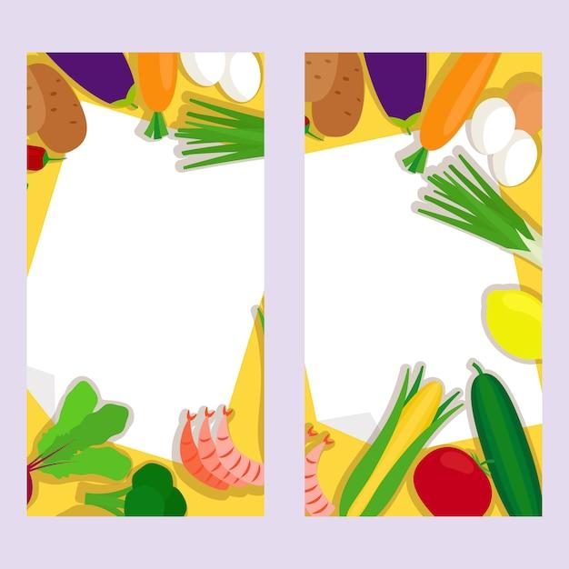 Gesundes essen vertikale banner Premium Vektoren
