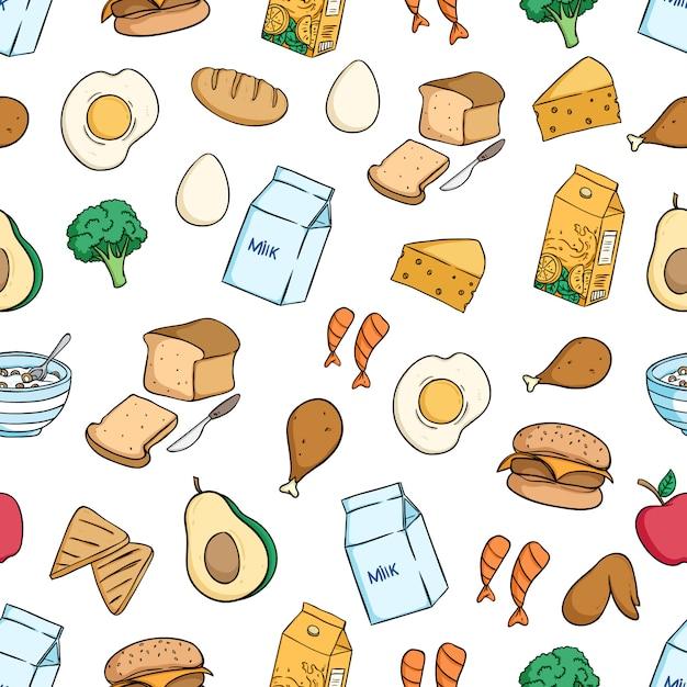 Gesundes frühstück essen nahtlose muster mit farbigen doodle-stil Premium Vektoren