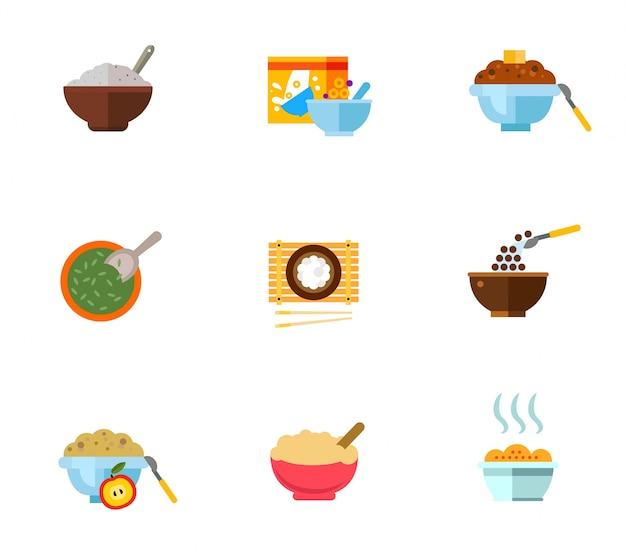 Gesundes frühstück icon set Kostenlosen Vektoren