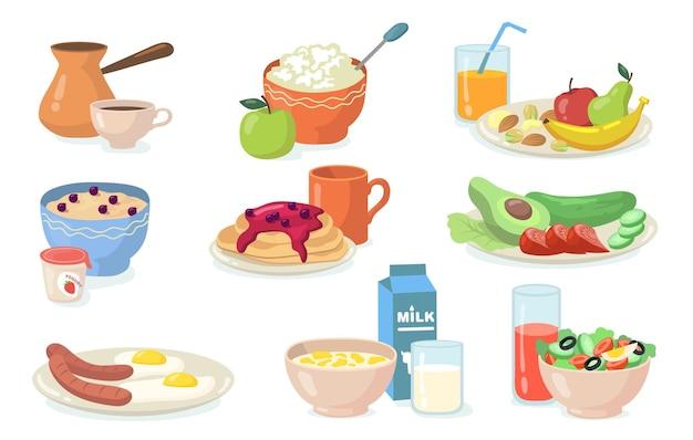 Gesundes frühstück mahlzeiten eingestellt. flache illustration Kostenlosen Vektoren