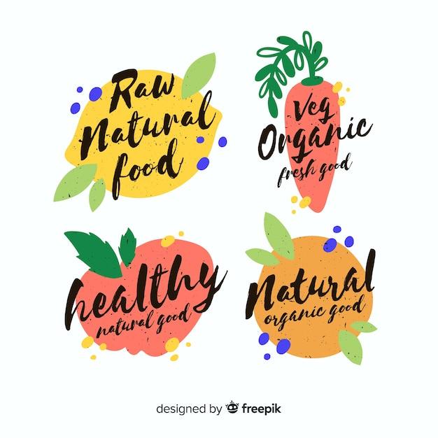 Gesundes lebensmittel-logoset der weinlese Kostenlosen Vektoren