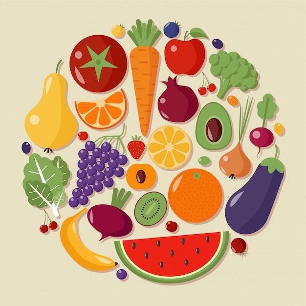 Gesundes lebensmittelfrucht-gemüse-flacher art-vektor Premium Vektoren
