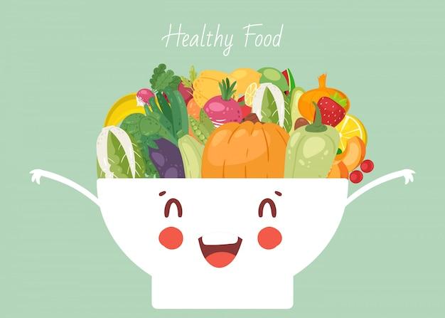 Gesundes lebensmittelgemüse in der niedlichen kawaii schüsselillustration. gemüse pfeffer, zwiebel, kürbis und aubergine, kürbis. gesundes veganes essen gemischt in schüssel schüssel. Premium Vektoren