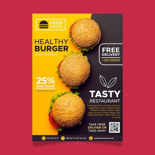 Gesundes lebensmittelrestaurantplakatschablone Kostenlosen Vektoren