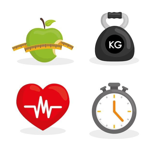 Gesundes lebensstilkonzept mit eignungsikonendesign, grafik der vektorillustration 10 env. Premium Vektoren