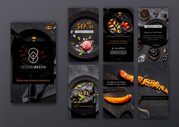 Gesundes restaurant instagram strebt sammlung Premium Vektoren