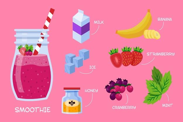 Gesundes smoothie-rezept Kostenlosen Vektoren