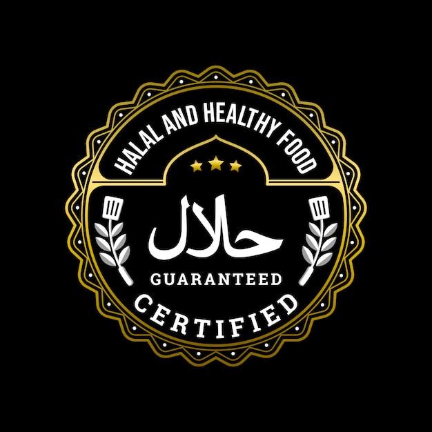 Gesundes und gesundes lebensmittelzertifiziertes abzeichen-logo Premium Vektoren