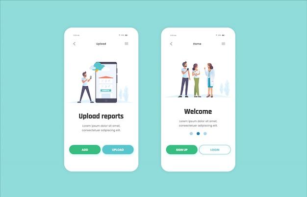 Gesundheit mobile anwendung Premium Vektoren