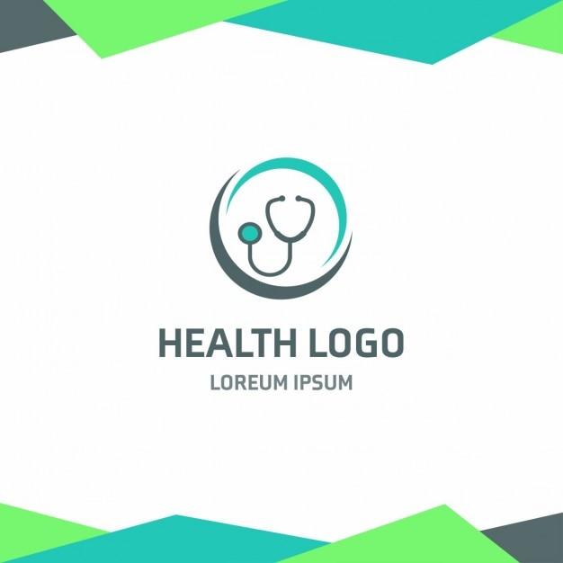 Gesundheit stethoskop logo grünen hintergrund Kostenlosen Vektoren
