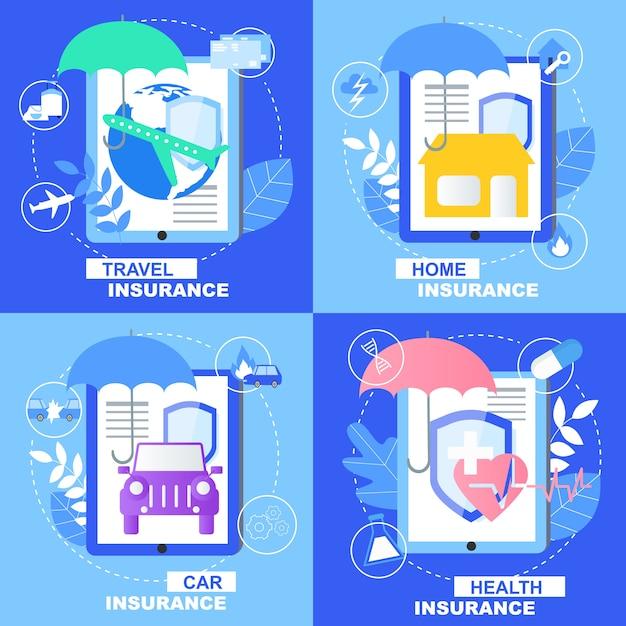 Gesundheits-auto-ausgangsreiseversicherungs-fahnensatz mit schild-regenschirm-zeichen Premium Vektoren
