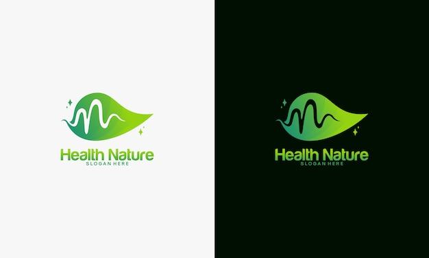Gesundheits-naturlogokonzept, naturlogoschablone Premium Vektoren