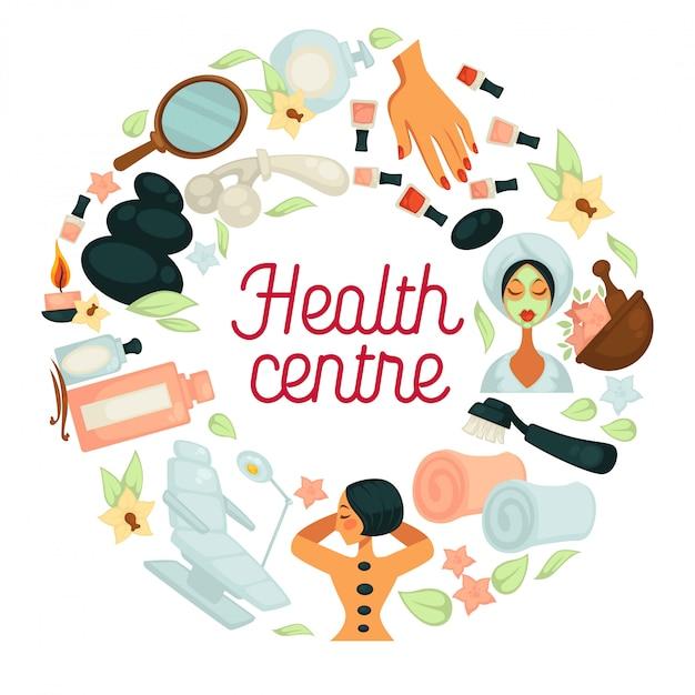 Gesundheits- und spa-salonzentrum für körperentspannung und hautpflege für frauen Premium Vektoren