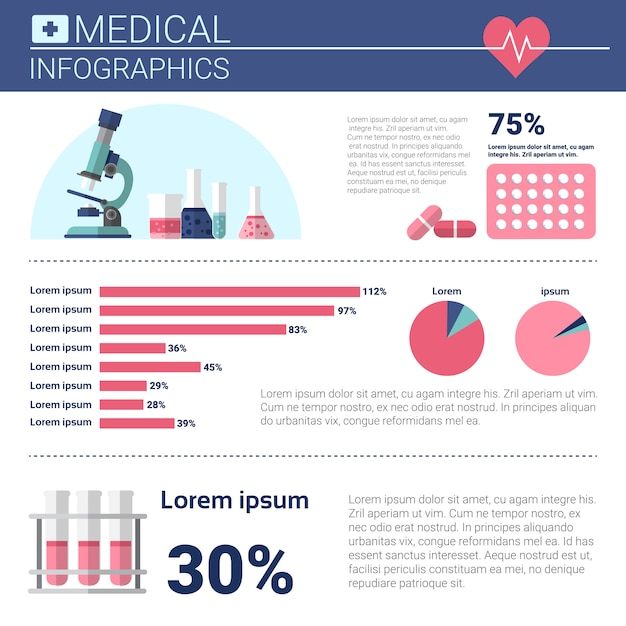 Gesundheitsmedizin infografiken informationsfahne mit textfreiraum Premium Vektoren