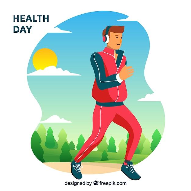 Gesundheitstagehintergrund mit gezogener art des läufers in der hand Kostenlosen Vektoren