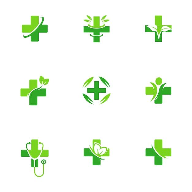 Gesundheitswesen-apotheken-medizinlogo Premium Vektoren