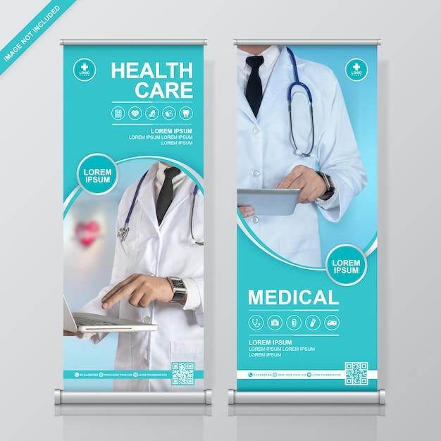 Gesundheitswesen und medizin rollen oben und standee-banner-design-vorlage Premium Vektoren