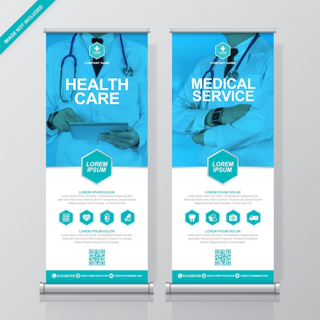 Gesundheitswesen und medizin rollen oben und standee-banner-vorlage Premium Vektoren
