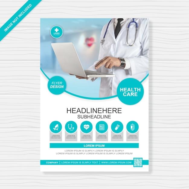 Gesundheitswesen und medizinische abdeckung a4 flyer design-vorlage für den druck Premium Vektoren