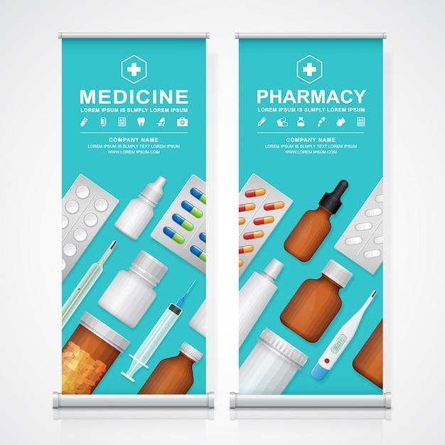 Gesundheitswesen und medizinische flaschen eingestellt Premium Vektoren