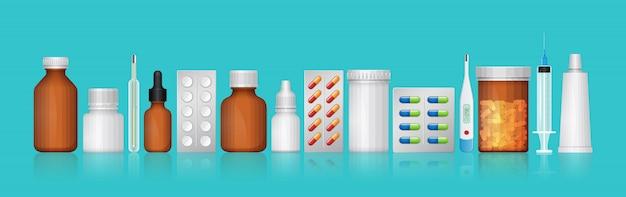 Gesundheitswesen und medizinische flaschen stellen medizin und pillen ein Premium Vektoren