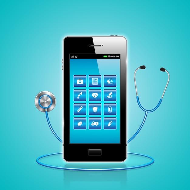 Gesundheitswesen und medizinische online per smartphone auf app Premium Vektoren
