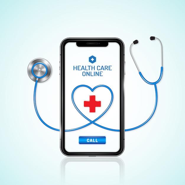 Gesundheitswesen und medizinisches online-telefon und stethoskop Premium Vektoren