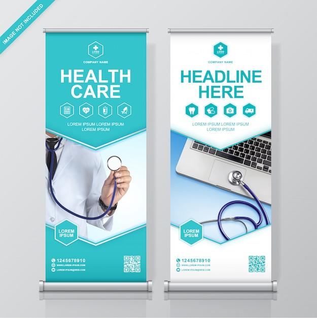 Gesundheitswesen und medizinisches rollen oben design, fahnenstandplatzschablone Premium Vektoren