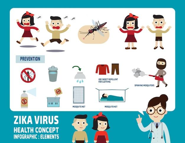 Gesundheitswesenkonzept-vektorillustration der infographic elemente des zika virus Premium Vektoren