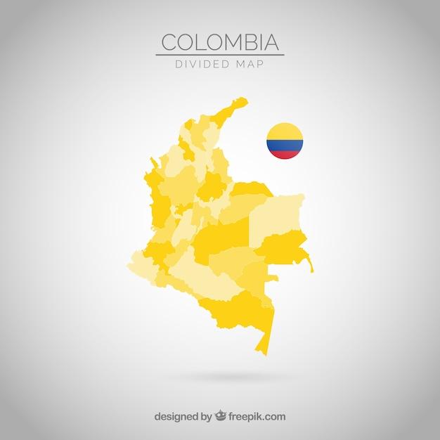 Geteilte karte von kolumbien Kostenlosen Vektoren