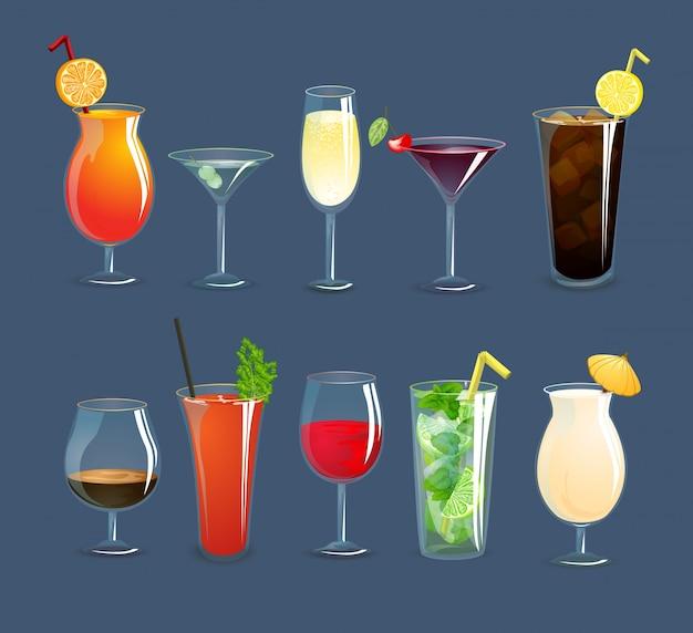 Getränke gläser set Kostenlosen Vektoren