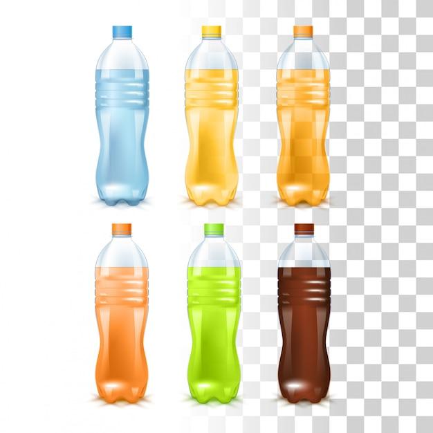 Getränke in den plastikflaschen Premium Vektoren