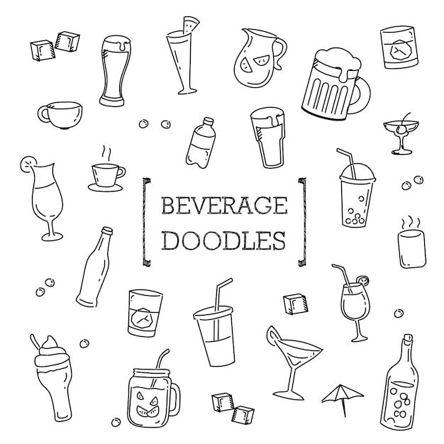 Getränkegekritzel eingestellt, handzeichnungs-artgetränke. Premium Vektoren