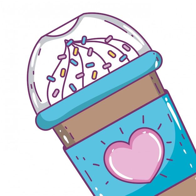 Getrennte gefrorene kaffeetasse Premium Vektoren