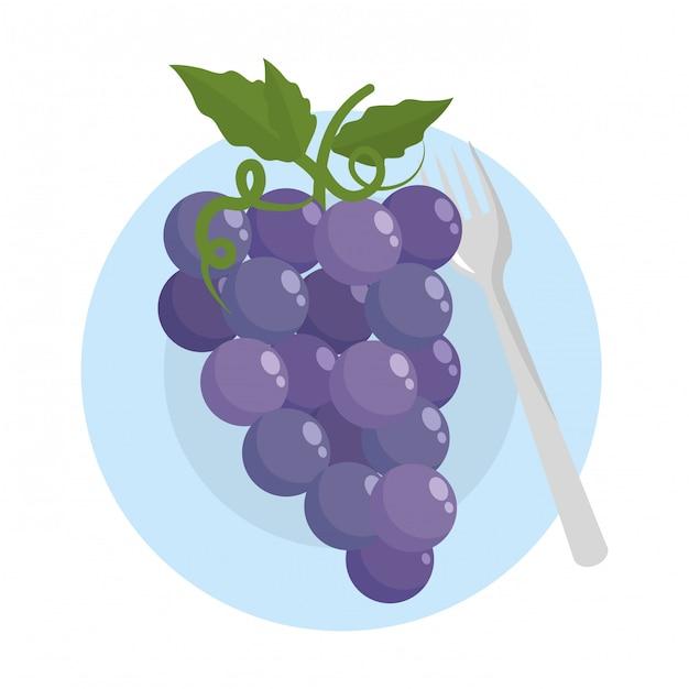 Getrennte trauben tragen mit blättern früchte Premium Vektoren