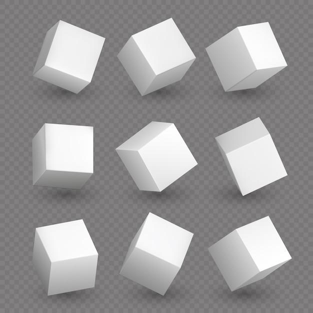 Getrennte würfel 3d. weiße geometrische würfel oder blockkastenformen mit schattenvektorsatz Premium Vektoren