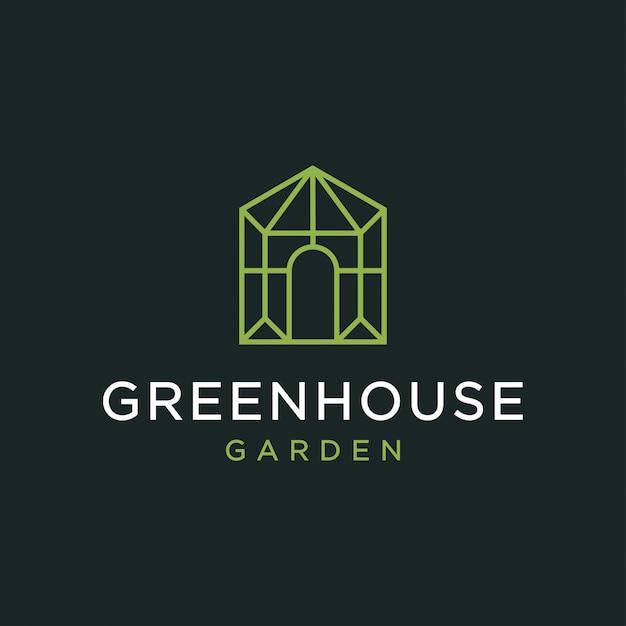 Gewächshaus-logo-design-konzept. universelles gewächshaus-logo. Premium Vektoren