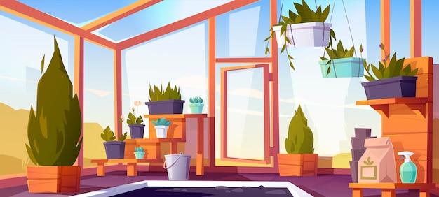 Gewächshausinnenraum mit topfpflanzen auf regalen. leerer wintergarten, orangerie mit glaswänden, fenstern, dach und steinboden, platz zum wachsen von blumen, innenansicht. karikaturillustration Kostenlosen Vektoren