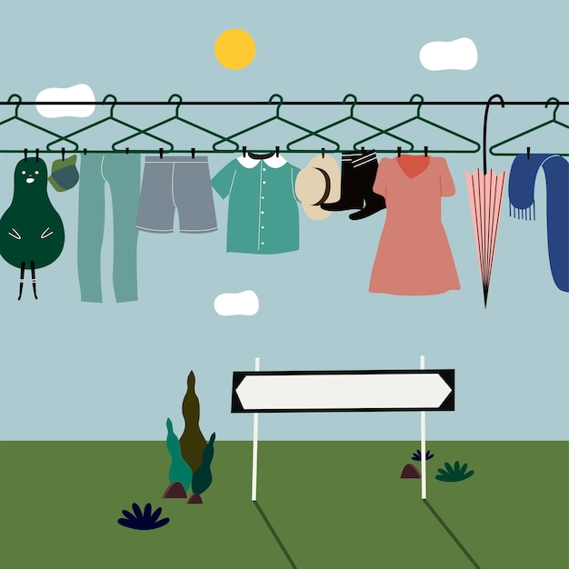 Gewaschene kleidung, die an der wäscheleine hängt Kostenlosen Vektoren