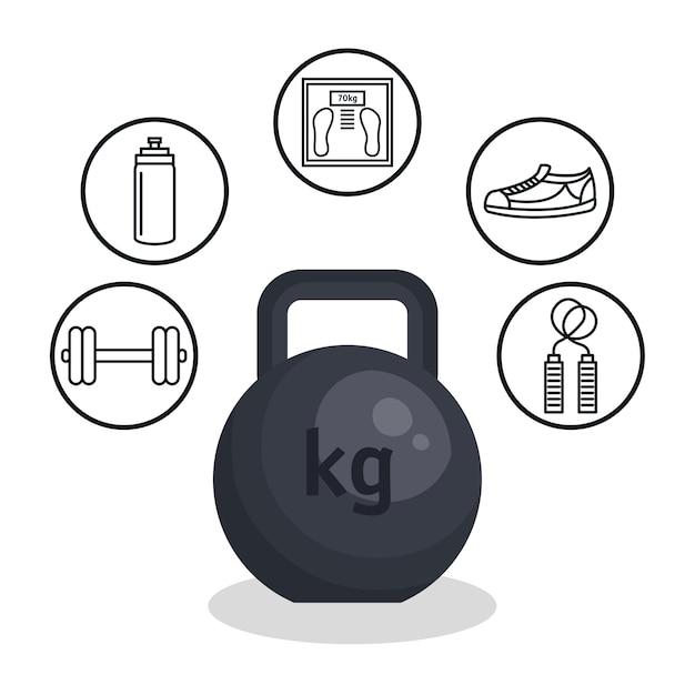 Gewichtheben lebensstil symbole Premium Vektoren