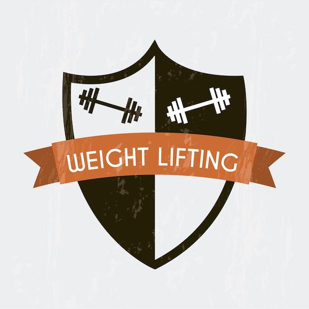 Gewichtheben unterzeichnen vorbei graue hintergrundvektorillustration Premium Vektoren